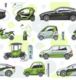 electric car with solar panels eco electro vector image vector image