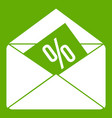 envelope with percentage icon green vector image vector image