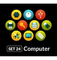 Flat icons set 24 - computer collection vector image vector image