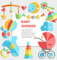 flat infancy bacground baby products decoration vector image vector image