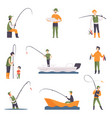 flat set of fishing people with fish and vector image
