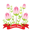 Flowers Bunch With Red Ribbon vector image vector image