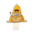 funny cartoon cute brown super hero potato vector image