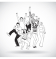 Group happy young people isolate black and white vector image vector image