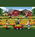 kids on a pumpkin patch trip in autumn or fall