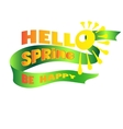 lettering Hello Spring on a green ribbon vector image