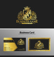 luxury lions heraldic logo design template vector image