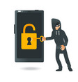 male hacker in black clothes and mask hacks mobile vector image