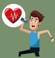 man exercise run heartbeat vector image