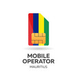 mauritius mobile operator sim card with flag vector image vector image