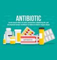 medical antibiotic concept banner flat style