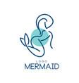 mermaid logo design element for badge invitation vector image
