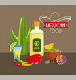 mexican food with chile pepper and tequila vector image