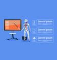 modern robot leading presentation on digital vector image vector image