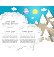 paper cut mountain background vector image vector image