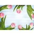 Pink tulips on white blue wooden EPS 10 vector image vector image