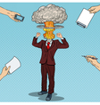 Pop Art Stressed Businessman with Explosion Head vector image vector image