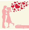 Romantic Valentine lovers silhouette vector image vector image