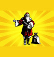 santa claus with a bag of money vector image vector image