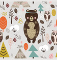 seamless pattern with bear in forest scandinavian vector image