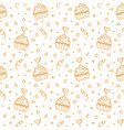 seamless pattern with hand drawn sweet cupcakes vector image vector image