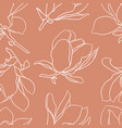 seamless pattern with white blooming magnolia vector image vector image