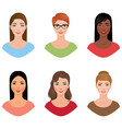 set avatars women of different nationalities with vector image vector image