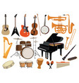 set musical instruments collection cartoon vector image vector image