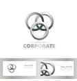 Silver joined circle logo vector image