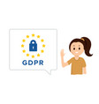 smiling girl with speech bubble gdpr vector image vector image