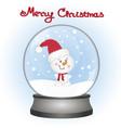 snowman in a snow globe christmas card vector image