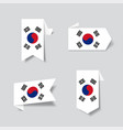 south korean flag stickers and labels vector image
