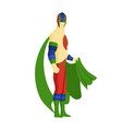 superhero standing with cape waving in the wind vector image vector image
