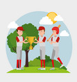 team of athletes practicing baseball vector image vector image