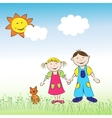 The children boy and girl with cat on the meadow vector image vector image