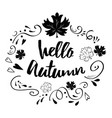 typographic banner with phrase hello autumn in vector image vector image