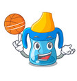 with basketball character baby training cup with vector image