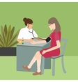 woman check blood pressure with nurse medical vector image