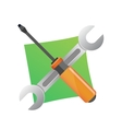 Wrench and screwdriver icon isolated on white vector image