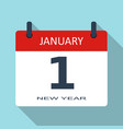 1 january new year day flat daily calenda vector image vector image