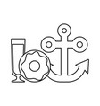 anchor with donut and juice glass vector image vector image