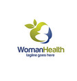 apple with woman silhouette for health logo vector image