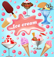 background with a set fruits ice-cream vector image vector image