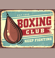 boxing speed ball on old tin sign vector image