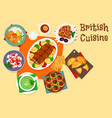 british cuisine traditional meat dishes icon vector image vector image