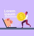 businessman carry dollar coin laptop screen piggy vector image vector image