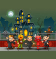 cartoon happy kids on the halloween day vector image vector image