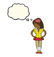 cartoon intelligent woman with thought bubble vector image vector image