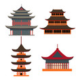 cartoon traditional asian house objects set vector image vector image