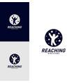 children stars logo design concept reaching dream vector image